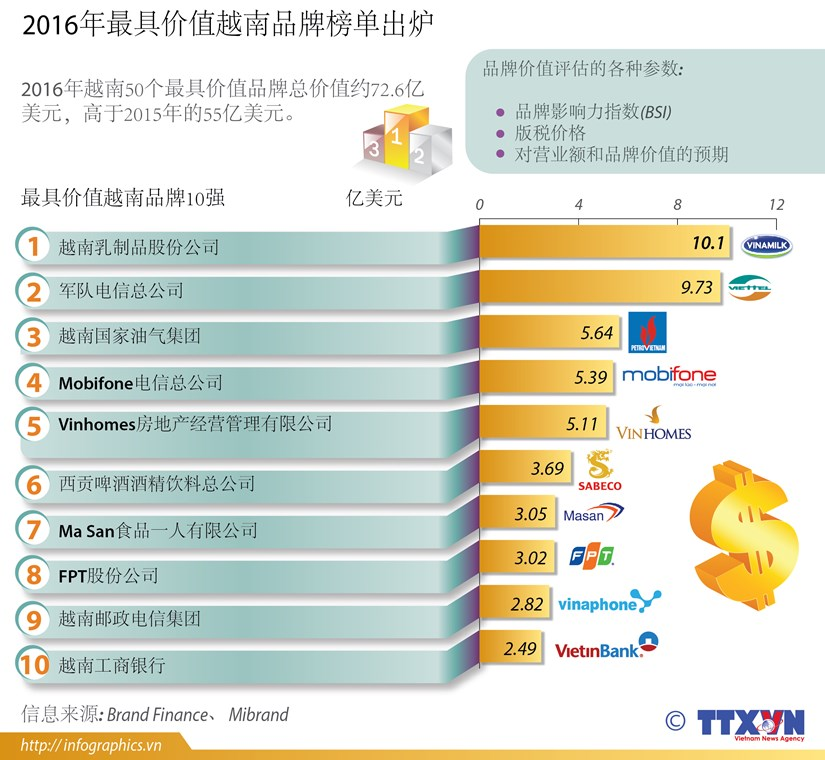 2016年最具价值越南品牌榜单出炉 hinh anh 1