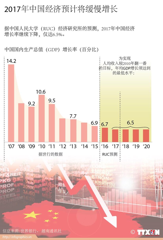 2017年中国经济预计将缓慢增长 hinh anh 1