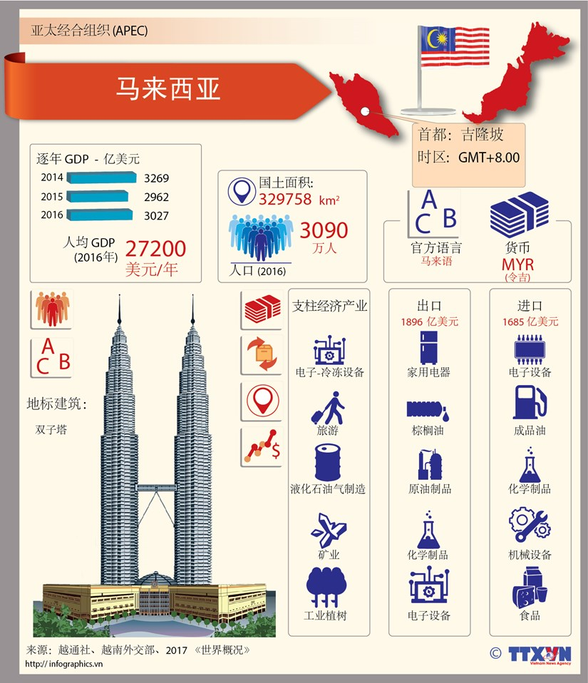 图表新闻:亚太经合组织成员经济体——马来西亚 hinh anh 1