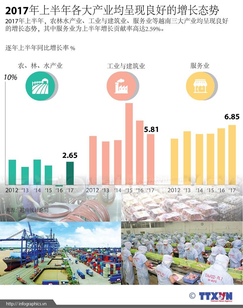 图表新闻:2017年上半年各大产业均呈现良好的增长态势 hinh anh 1