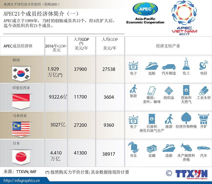 图表新闻:APEC21个成员经济体简介(一) hinh anh 1