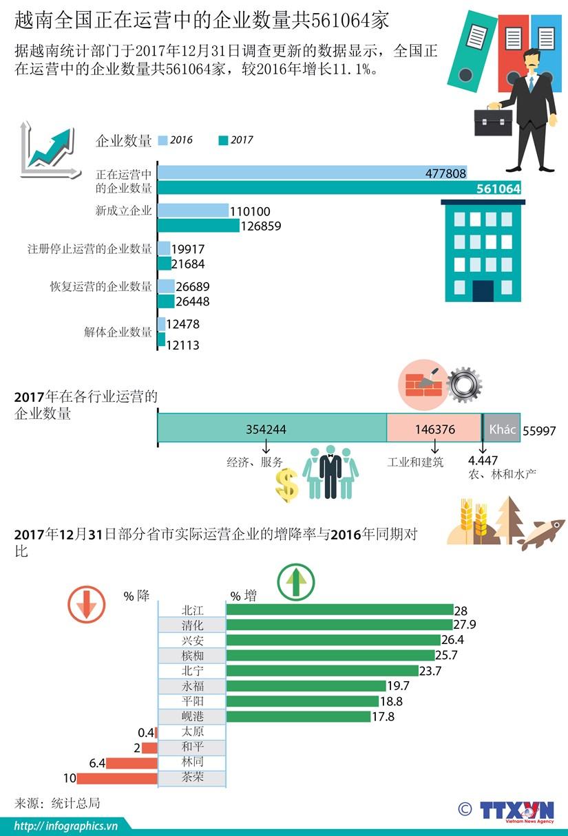 图表新闻:越南全国正在运营的企业数量共561064家 hinh anh 1