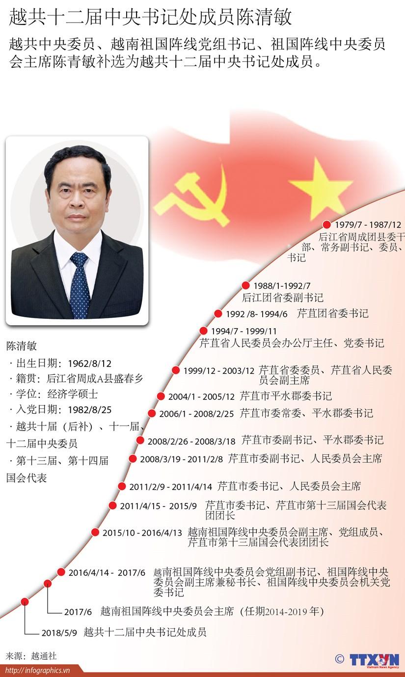 图表新闻:越共十二届中央书记处成员陈清敏简历 hinh anh 1