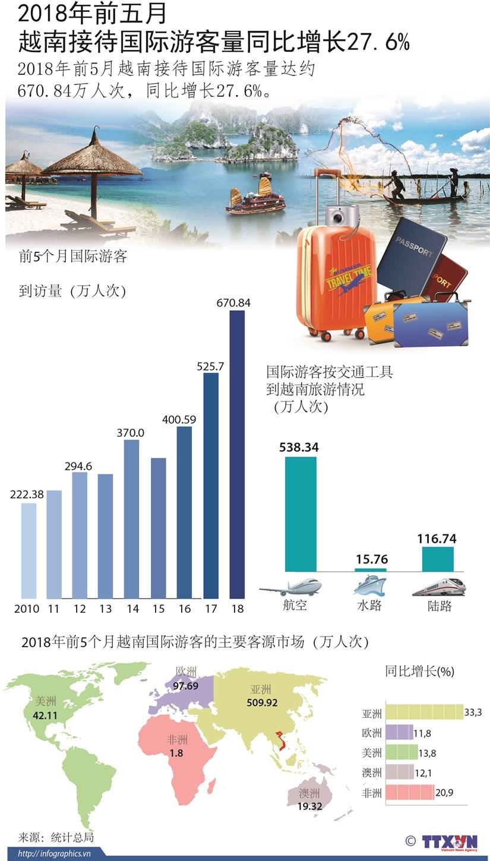 图表新闻:2018年前5月越南接待国际游客量同比增长27.6% hinh anh 1
