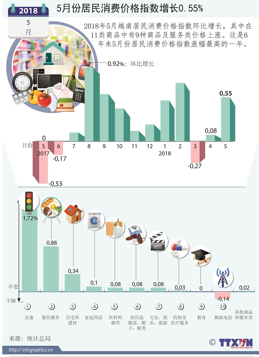 图表新闻:5月份居民消费价格指数增长0.55% hinh anh 1
