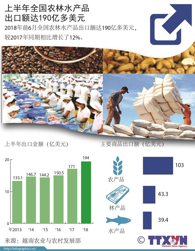 图表新闻:上半年全国农林水产品出口额达190亿多美元 hinh anh 1