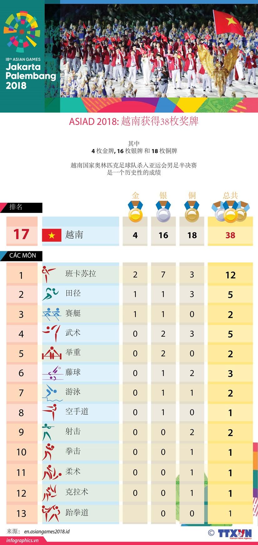 图表新闻:ASIAD 2018: 越南获得38枚奖牌 hinh anh 1