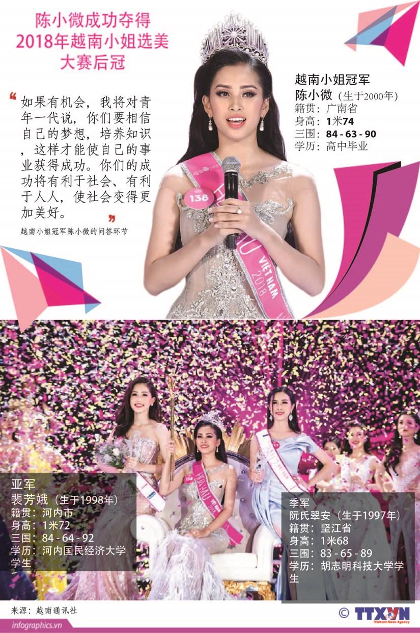 图表新闻:陈小微夺得2018年越南小姐选美大赛的后冠 hinh anh 1