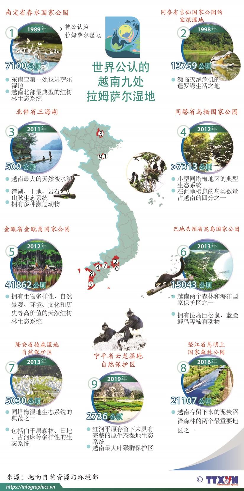 图表新闻:世界公认的越南九处 拉姆萨尔湿地 hinh anh 1