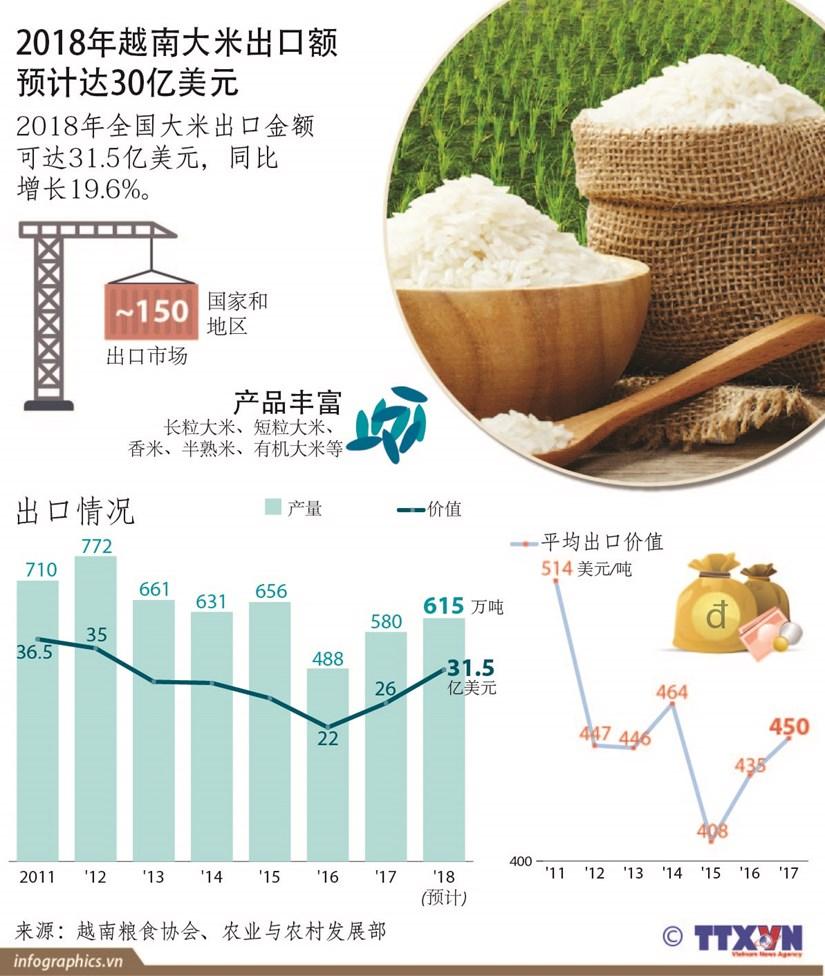图表新闻:2018年越南大米出口额预计达30亿美元 hinh anh 1