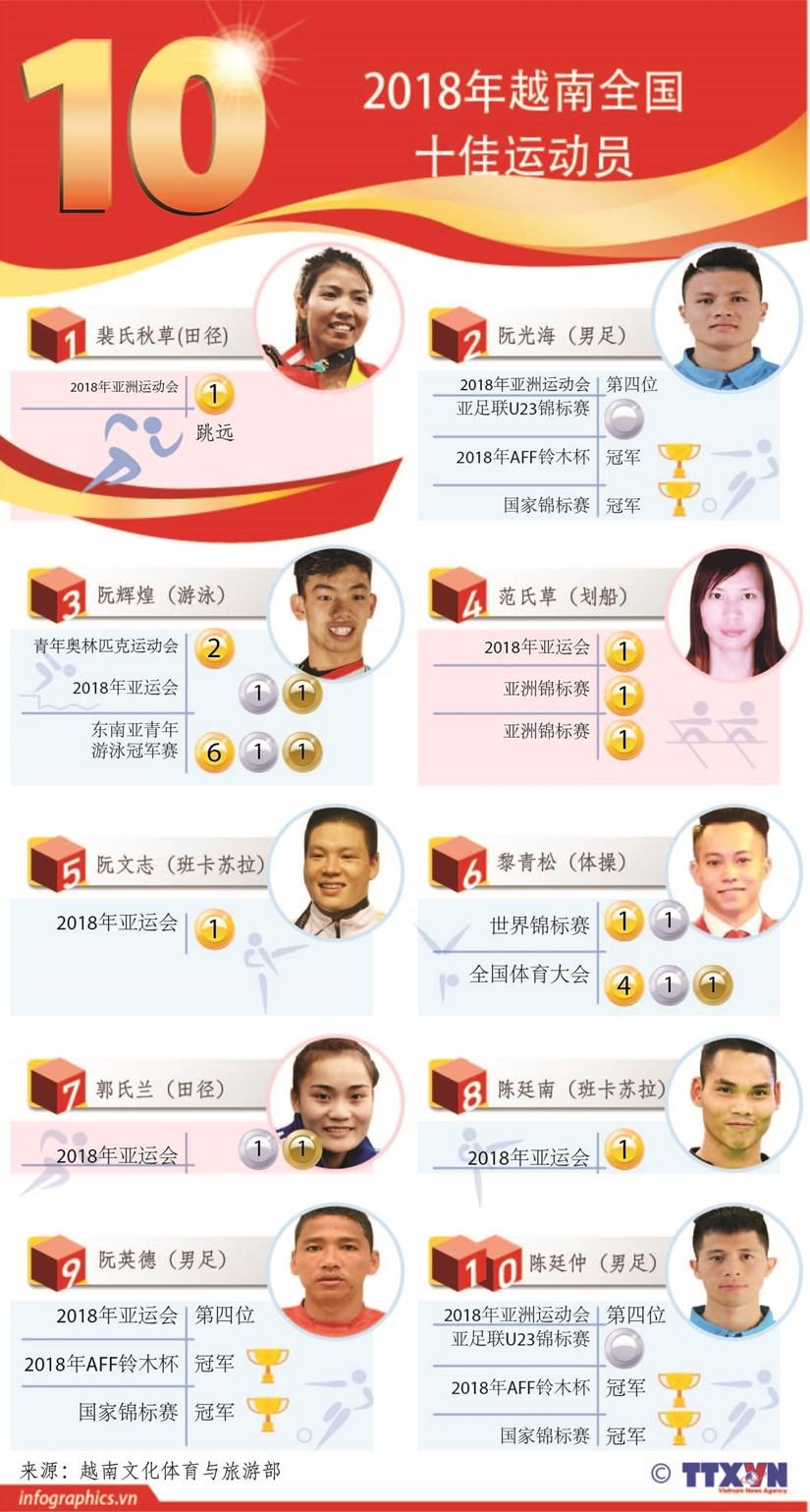 图表新闻:2018年越南全国十佳运动员 hinh anh 1