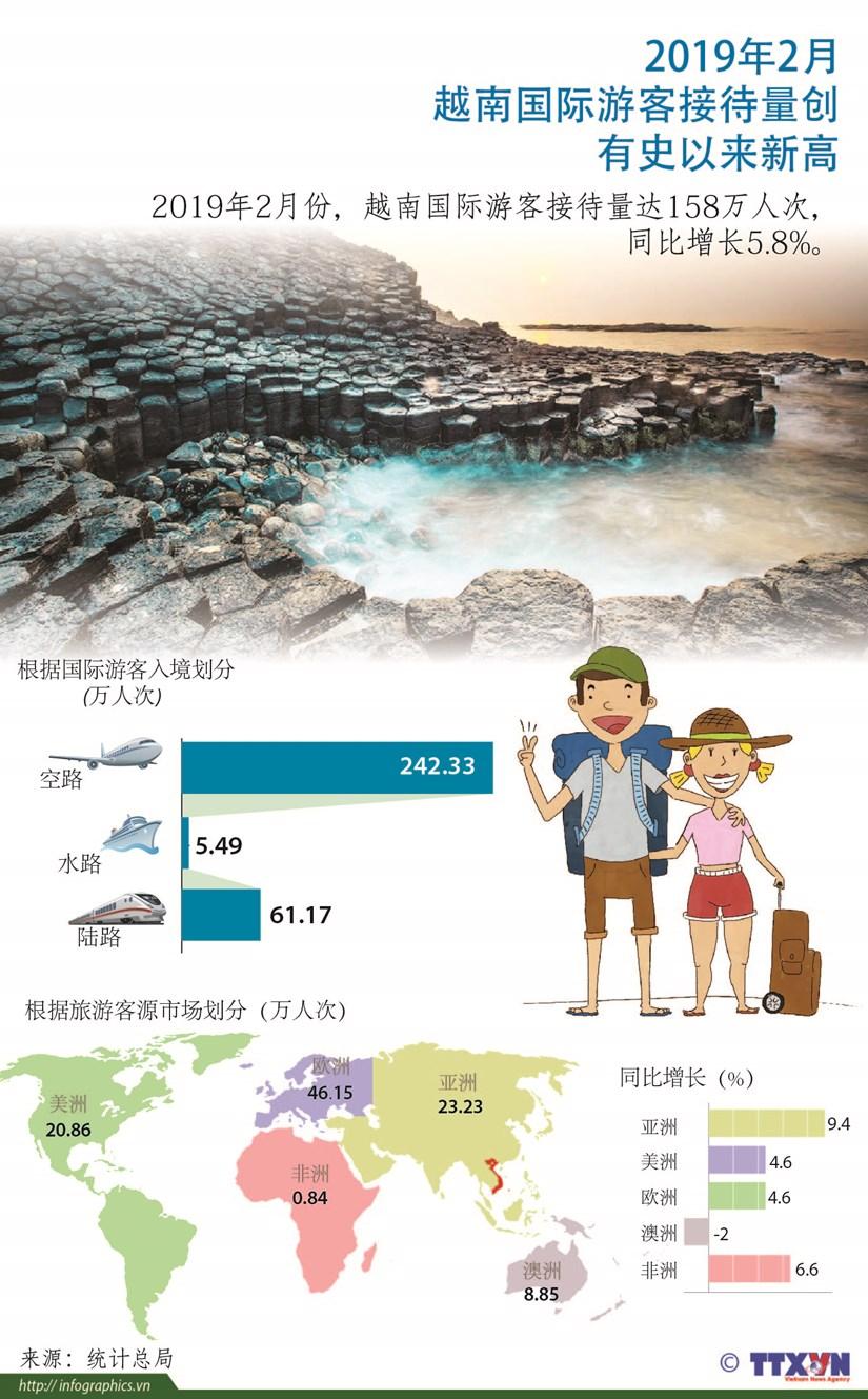 图表新闻:2019年2月越南国际游客接待量创有史以来新高 hinh anh 1