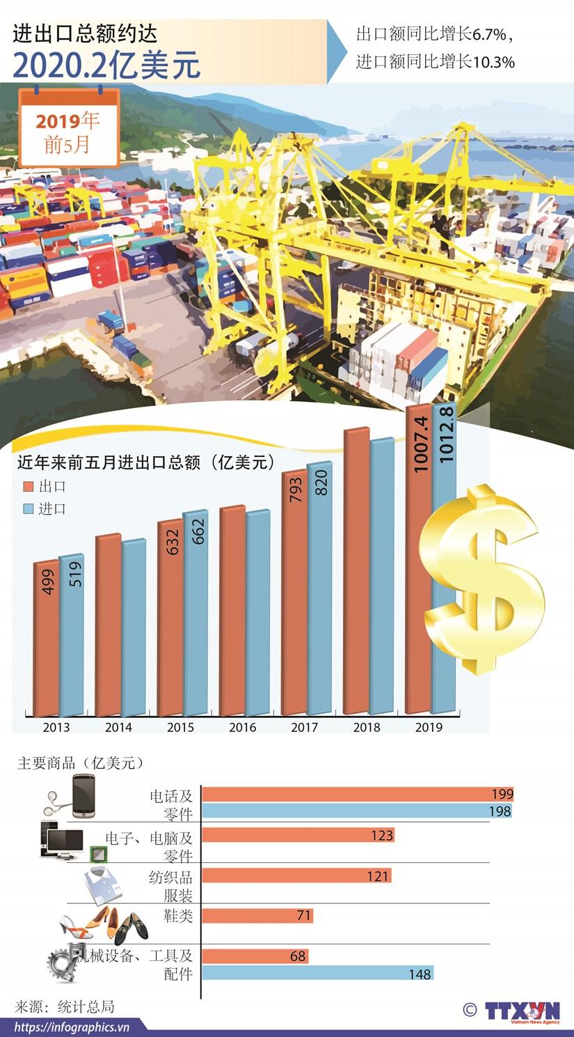 图表新闻:2019年前5月越南进出口总额达2020.2亿美元 hinh anh 1