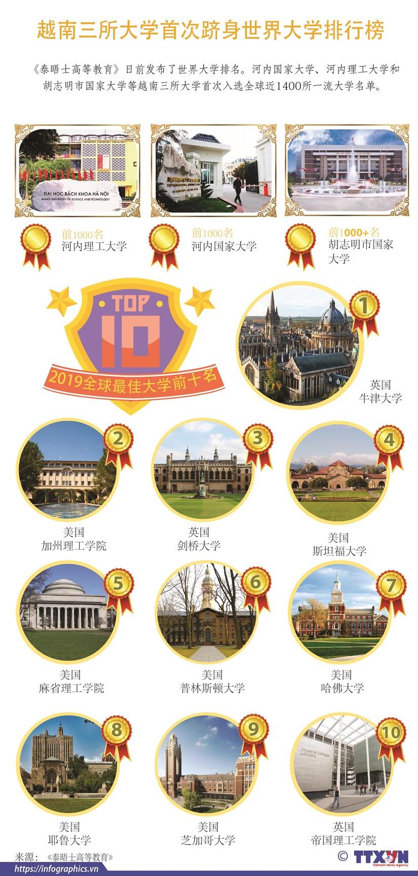 图表新闻:越南三所大学首次跻身世界大学排行榜 hinh anh 1