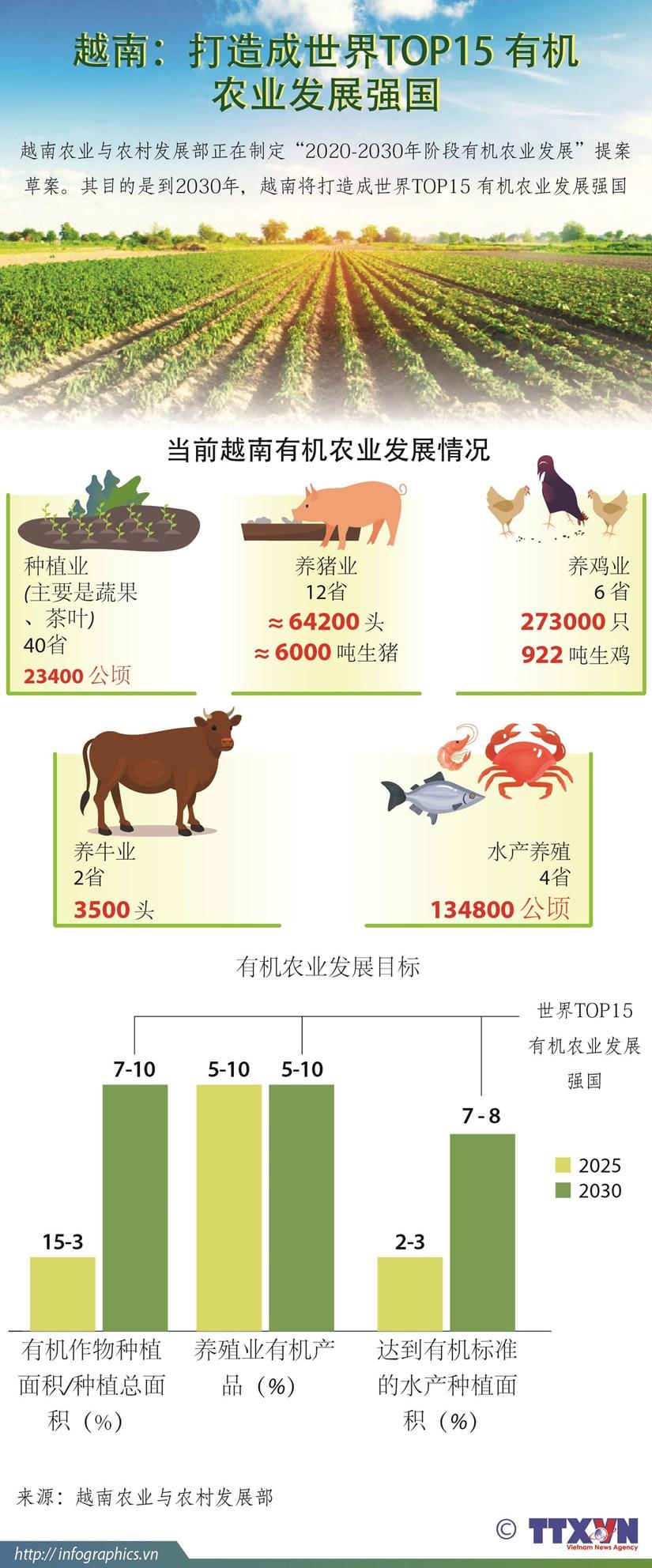 图表新闻:越南打造成世界TOP15 有机农业发展强国 hinh anh 1