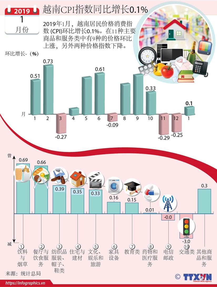 图表新闻:越南CPI指数同比增长0.1% hinh anh 1
