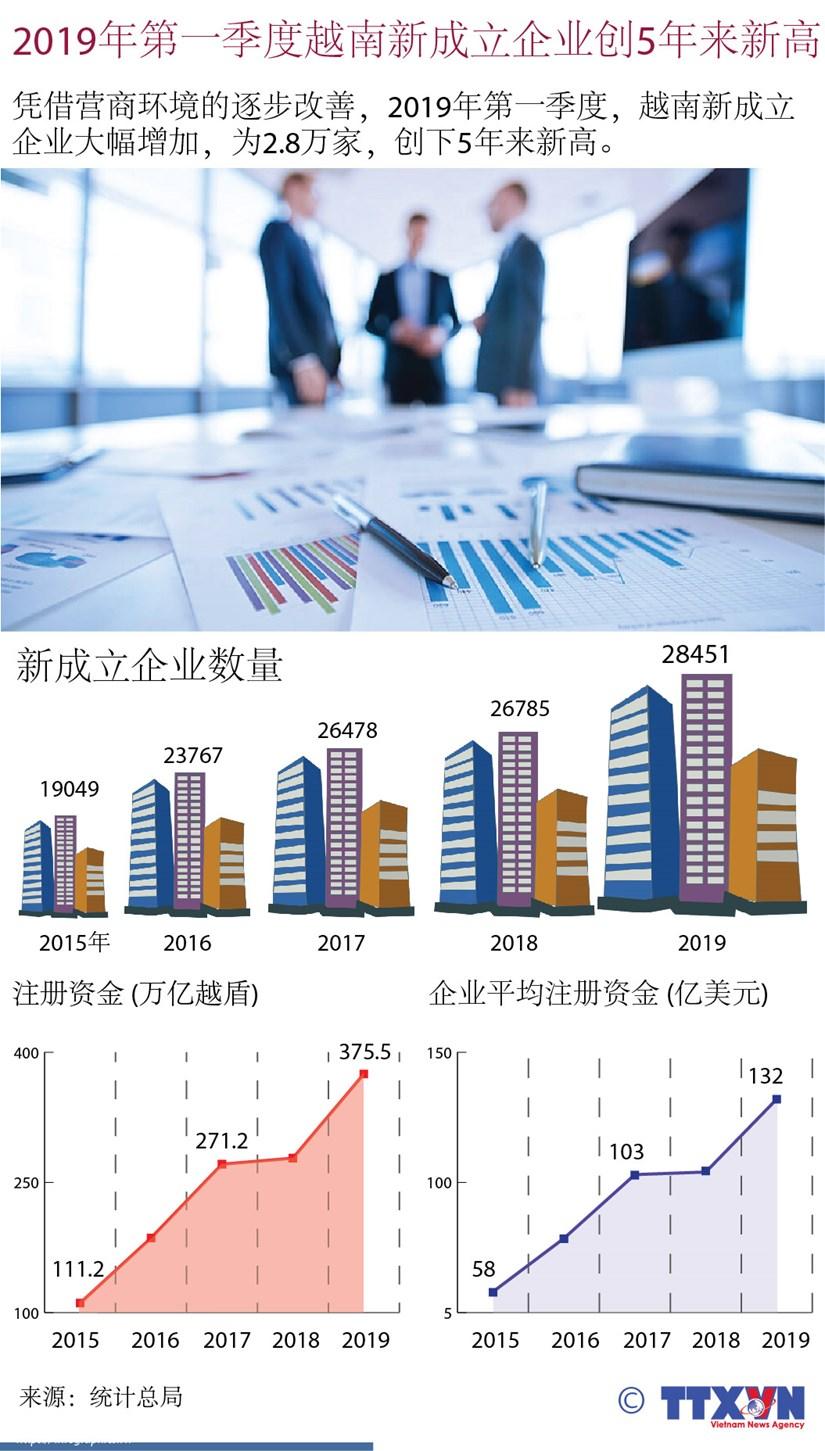 图表新闻:2019年第一季度越南新成立企业创5年来新高 hinh anh 1