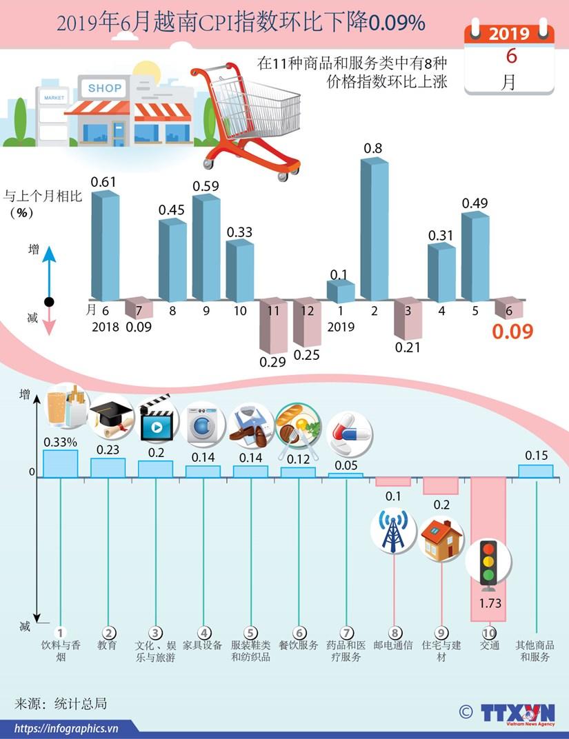 图表新闻:2019年6月越南CPI指数环比下降0.09% hinh anh 1