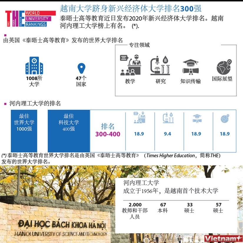 图表新闻:越南大学跻身新兴经济体大学排名300强 hinh anh 1