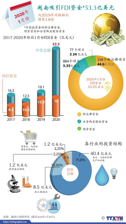 图表新闻:2020年1月份越南吸引FDI资金达53.3亿美元 hinh anh 1