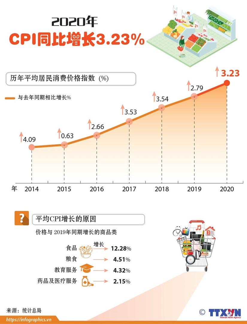 图表新闻:2020年CPI同比增长3.23% hinh anh 1