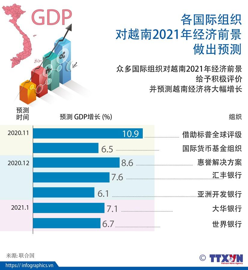 图表新闻:各国际组织对越南2021年经济前景做出预测 hinh anh 1