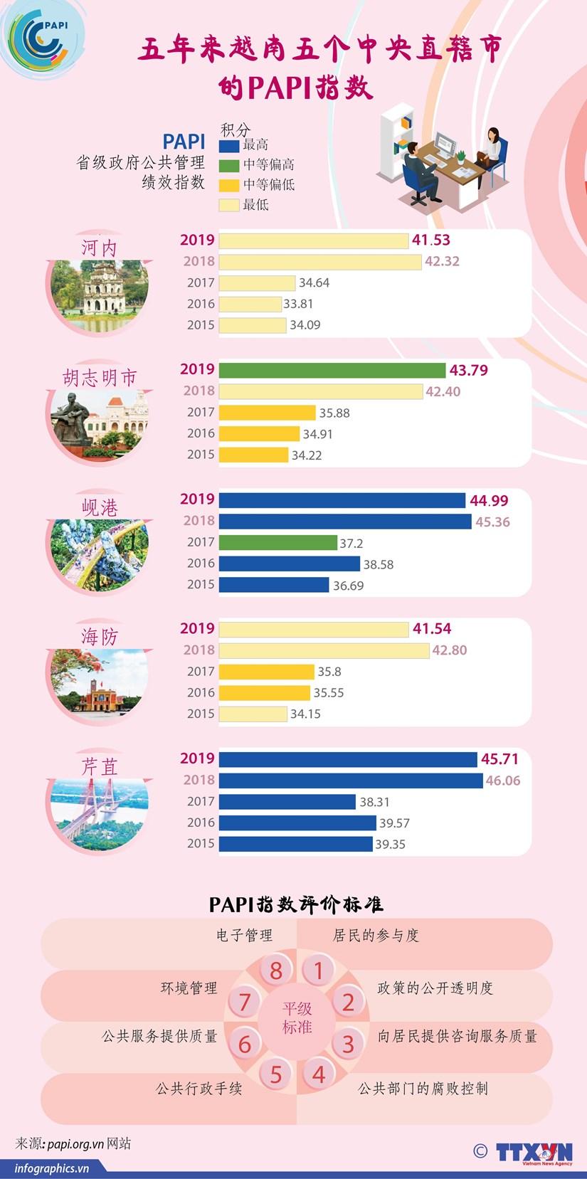 图表新闻:5年来越南5个中央直辖市的PIPA指数 hinh anh 1