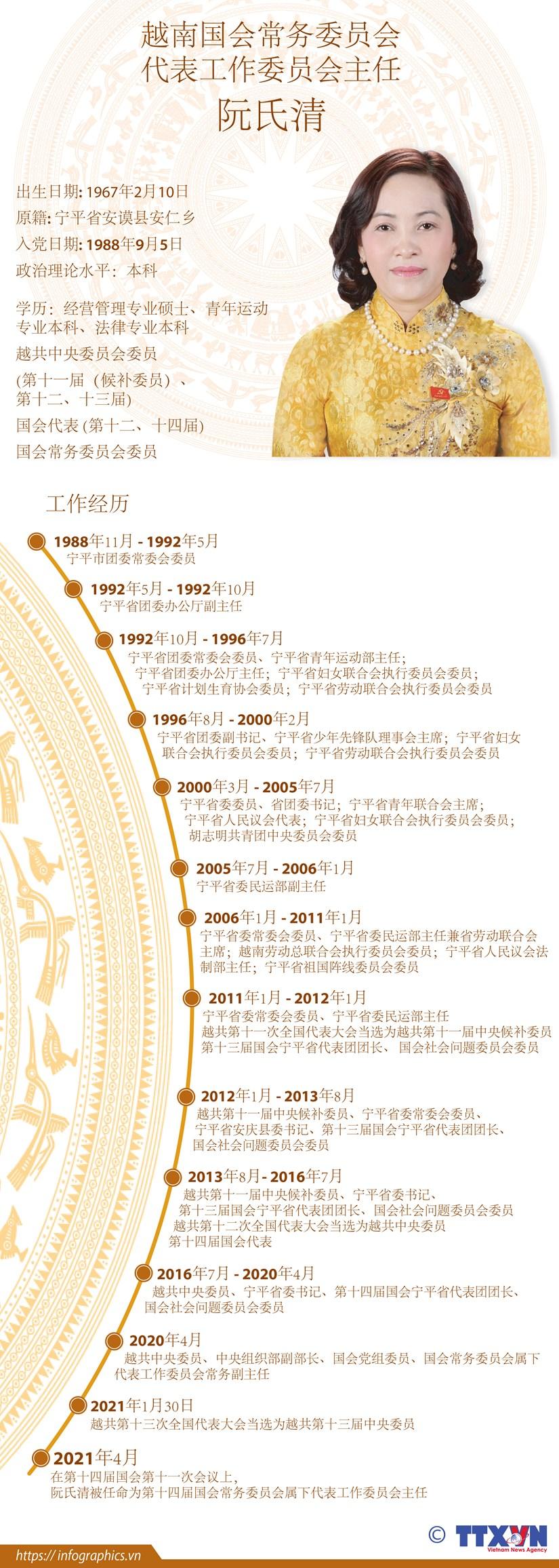 图表新闻:阮氏清被任命为越南国会常务委员会代表工作委员会主任 hinh anh 1