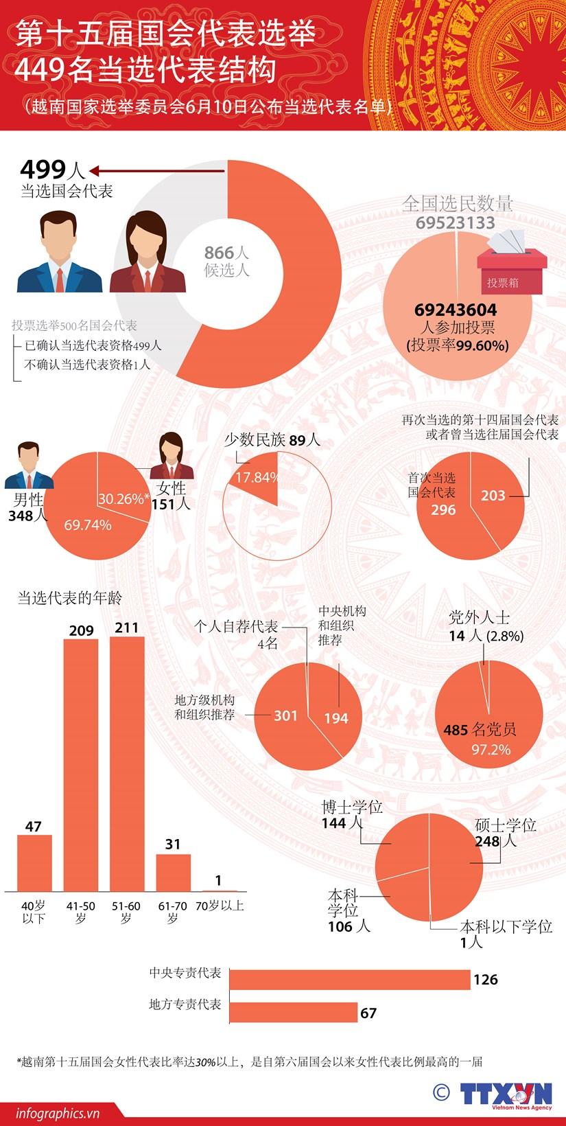 图表新闻:第十五届国会代表选举结果出炉 449名当选国会代表 hinh anh 1